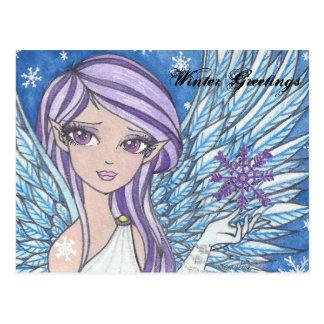 anime snow Angel Winter greetings post card