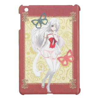 Anime Spirit Girl - Pink and Gold Trimmed iPad Mini Cover