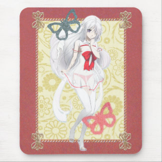 Anime Spirit Girl - Pink and Gold Trimmed Mouse Pad