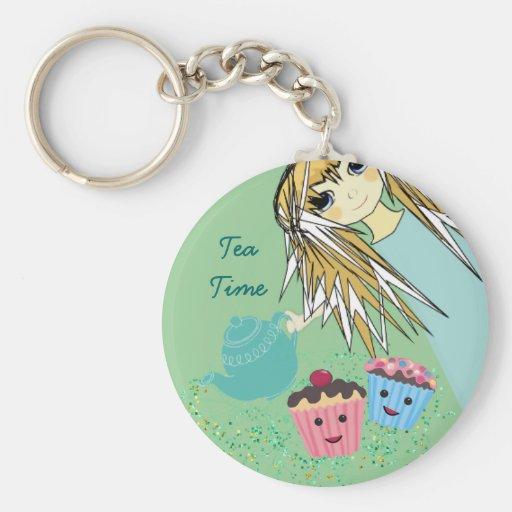 Anime Tea Party - Basic Round Button Keychain