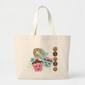 Anime Tea Party  kawaii Cake - Large Tote Bag