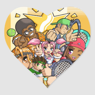 Anime Tennis Characters Heart Sticker