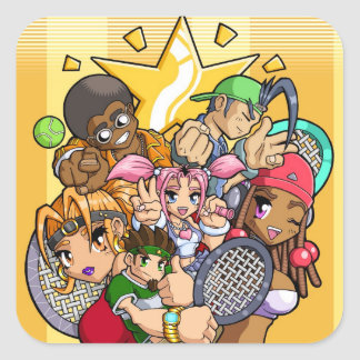 Anime Tennis Characters Square Sticker