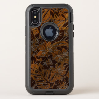 Anini Beach Hibiscus Floral Faux Wood OtterBox Defender iPhone X Case