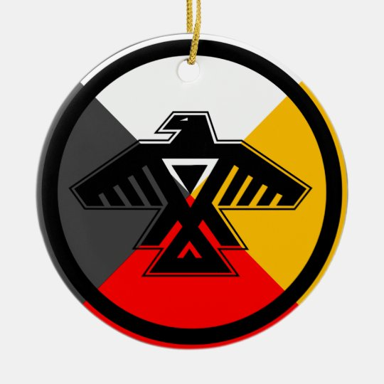 Anishinaabe Thunderbird in the Four Directions Ceramic Ornament