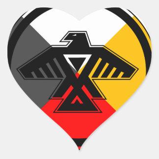 Anishinaabe Thunderbird in the Four Directions Heart Sticker