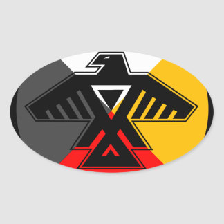 Anishinaabe Thunderbird in the Four Directions Oval Sticker