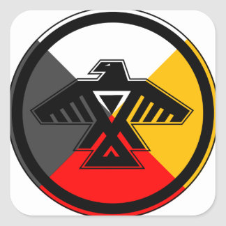 Anishinaabe Thunderbird in the Four Directions Square Sticker
