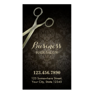 Anitique Scissor Damask Hair Salon Punch Card Business Cards