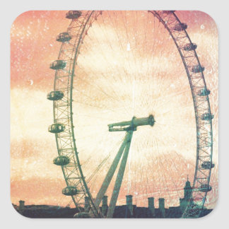 Anitiqued London Eye at Sunrise Square Sticker
