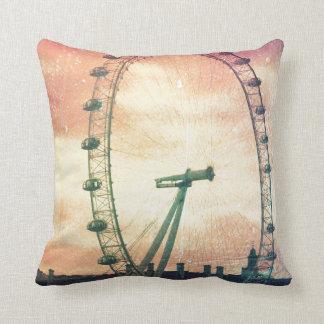 Anitiqued London Eye at Sunrise Throw Pillow