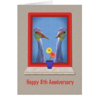 Aniversario, 8vo, dos grúas de Sandhill Tarjeton