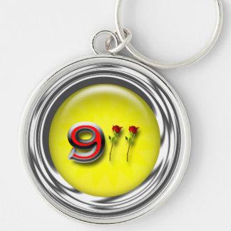 Aniversario 911 llavero redondo plateado