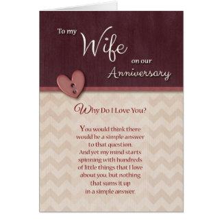 ¿Aniversario a la esposa - por qué haga te amo? Tarjeta De Felicitación