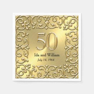 Aniversario adornado del marco 50.o del oro servilleta desechable