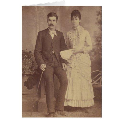 Aniversario antiguo de la foto tarjeta de felicitación