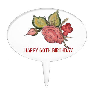 Aniversario antiguo del arte 60.o del rosa rojo figuras de tarta