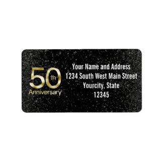 Aniversario atractivo del oro 50.o etiquetas de dirección