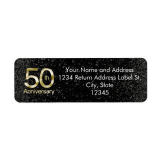 Aniversario atractivo del oro 50.o etiqueta de remite