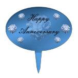 Aniversario azul de los Hydrangeas Decoración De Tarta