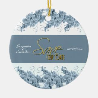 Aniversario azul del compromiso del boda de las adorno navideño redondo de cerámica
