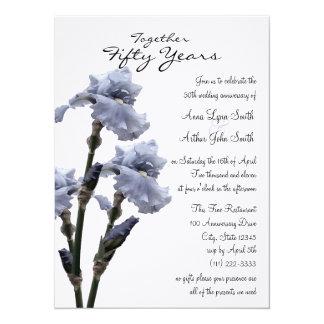 """Aniversario azul del iris invitación 5.5"""" x 7.5"""""""