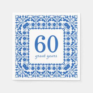 Aniversario azul y blanco de 60 grandes años del servilleta de papel