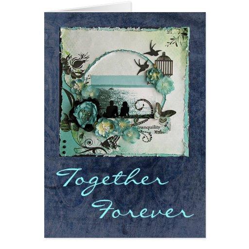 Aniversario/boda/compromiso felices - vintage tarjeta de felicitación