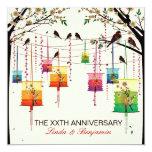Aniversario colorido de los pájaros del cerezo de invitación 13,3 cm x 13,3cm