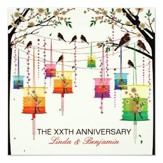 """Aniversario colorido de los pájaros del cerezo de invitación 5.25"""" x 5.25"""""""