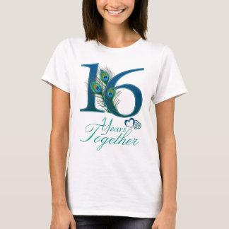 aniversario de boda/16/décimosexto/número 16 playera