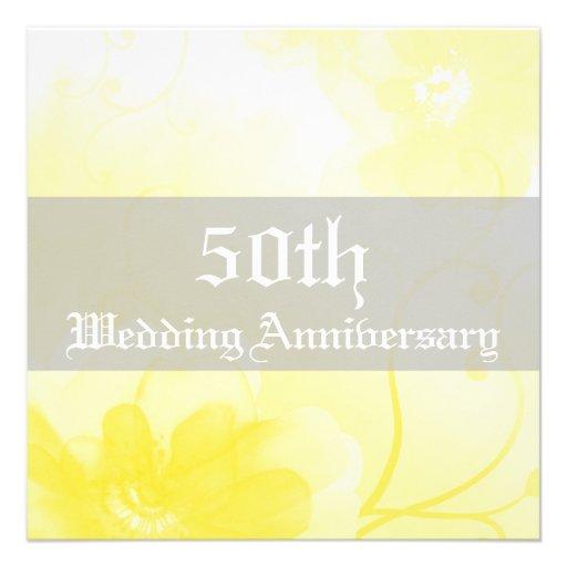 Aniversario de boda amarillo y gris elegante de la comunicado
