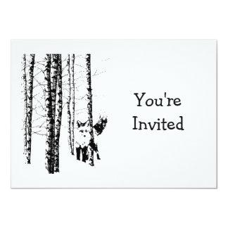 """Aniversario de boda animal del arte del Fox del Invitación 4.5"""" X 6.25"""""""