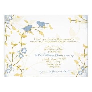 Aniversario de boda azul de diamante del oro de lo