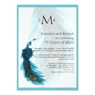"""Aniversario de boda azul del penacho del pavo real invitación 5"""" x 7"""""""