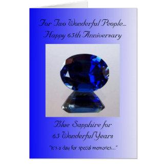Aniversario de boda azul del zafiro 65.o tarjeta de felicitación