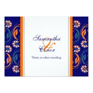 Aniversario de boda blanco anaranjado azul invitación 12,7 x 17,8 cm