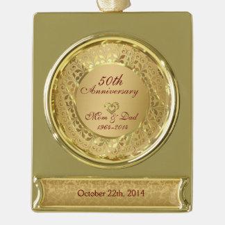 Aniversario de boda chispeante del oro 50.o adornos personalizables