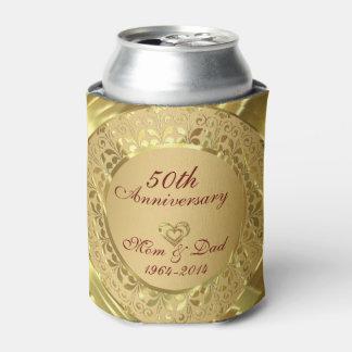 Aniversario de boda chispeante del oro 50.o enfriador de latas