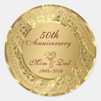 Aniversario de boda chispeante del oro 50.o pegatina redonda