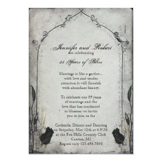 """Aniversario de boda color de rosa negro gótico del invitación 5"""" x 7"""""""