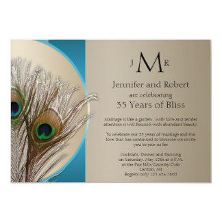 """Aniversario de boda de color topo moderno del pavo invitación 5"""" x 7"""""""