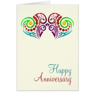 Aniversario de boda de dos corazones tarjeta