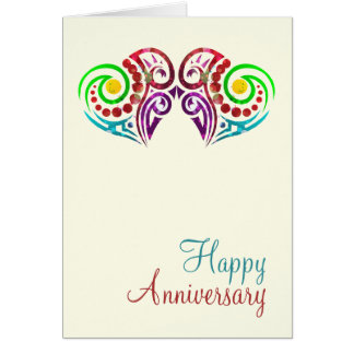 Aniversario de boda de dos corazones tarjeta de felicitación