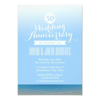 """Aniversario de boda de la brisa de la playa del invitación 5"""" x 7"""""""