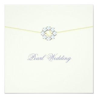 """Aniversario de boda de la perla con los diamantes invitación 5.25"""" x 5.25"""""""