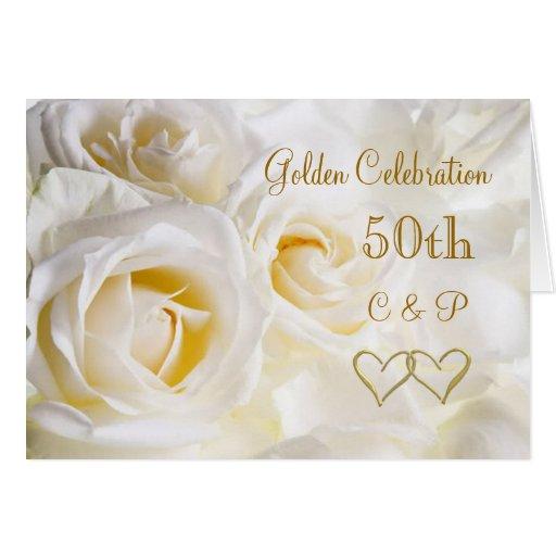 Aniversario de boda de los rosas blancos 50.os felicitaciones | Zazzle