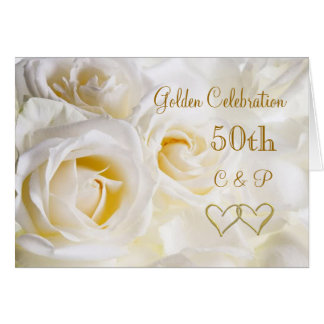 Aniversario de boda de los rosas blancos 50.os tarjeta de felicitación