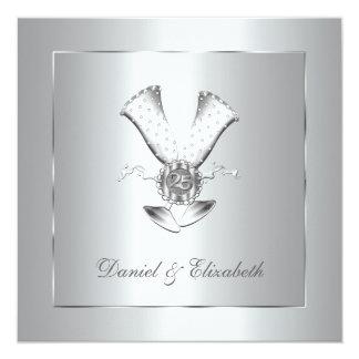 """Aniversario de boda de los vidrios de Champán 25to Invitación 5.25"""" X 5.25"""""""
