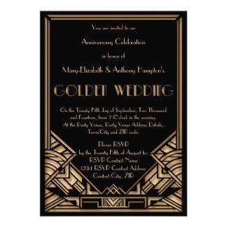 Aniversario de boda de oro de Gatsby del art déco